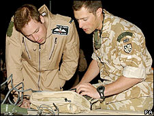 Prince William (left) and Flt Lt Adam Freedman