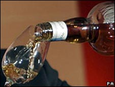 Close up of whisky being poured