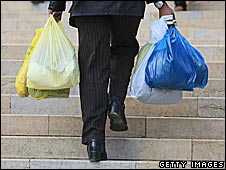 Shopper with carrier bags
