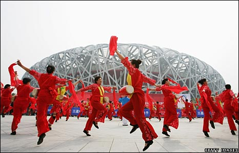 Chinese dancers in front of national stadium