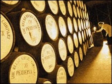 Penderyn whisky maturing in barrells