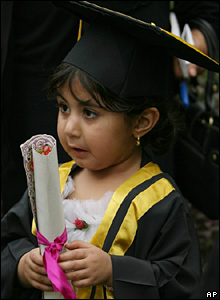 Iraqi schoolgirl graduating from kindergarten