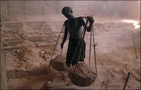 Indian labourer in brick factory