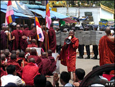 Burmese monks stage protest in September 2007