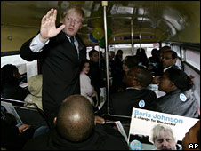Boris Johnson campaigning on Wednesday