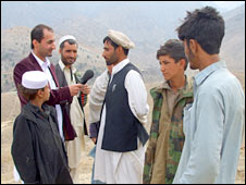 Dawood Azami and villagers near Tora Bora. Image: BBC