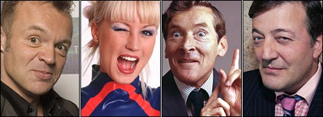 Graham Norton, Denise van Outen, Stephen Fry and Kenneth Williams