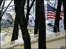 The US flag at the embassy in Minsk, Belarus