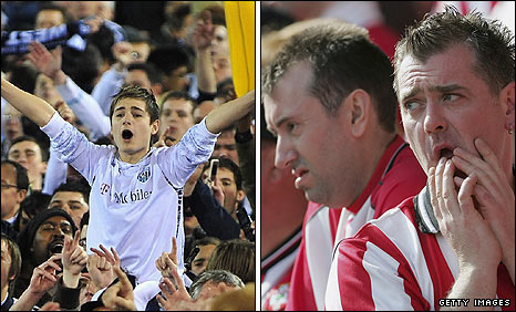 West Brom fans celebrate promotion (left) while Southampton fans come to terms with their relegation in 2005