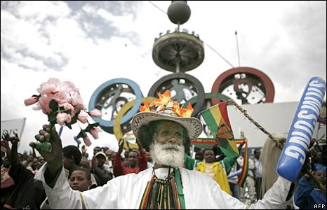 Man celebrating in Ethiopia