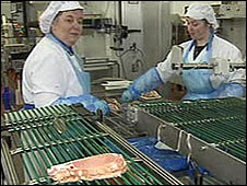 Meat processing employees