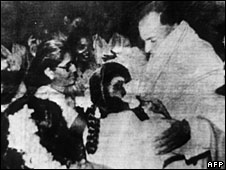 File picture of Rajiv Gandhi moments before his assassination in May 1991