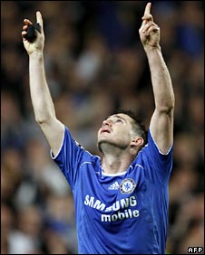 Frank Lampard points to the sky after scoring Chelsea's second on Wednesday night