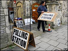 The polling station at St Jude's Church in Southsea in Hampshire
