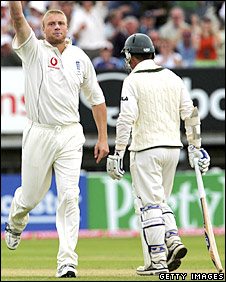 Andrew Flintoff celebrates the dismissal of Justin Langer at Edgbaston in the 2005 Ashes series