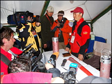 Media briefing in a tent at Base Camp