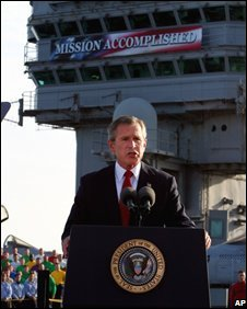 President Bush declares the end of major combat in Iraq aboard the USS Abraham Lincoln in 2003