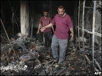 Damaged shop in Baghdad
