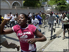 Protest over cost-of-living increases in Port-au-Prince, Haiti - 8/4/2008