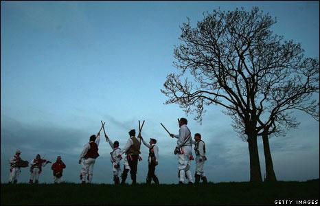 Morris Men dancing at dawn in Somerset, England