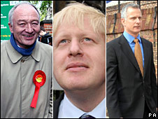 Ken Livingstone, Boris Johnson and Brian Paddick on their way to vote on Thursday