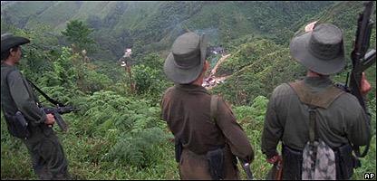 Fuerzas de las FARC en la selva.