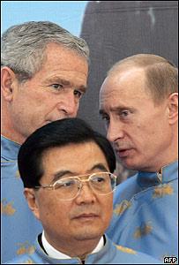 George Bush, Hu Jintao y Vladimir Putin, 2006, AFP