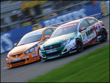 Cars racing at Brands Hatch