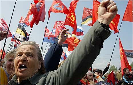 Workers in Donetsk, Ukraine, demanding  better living conditions