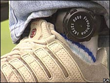 Electronic tag being worn round an ankle