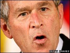 US President George W Bush speaks in Washington on 1 May 2008