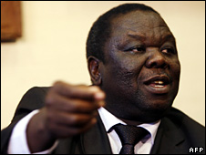 Morgan Tsvangirai in Johannesburg, South Africa 28 April, 2008