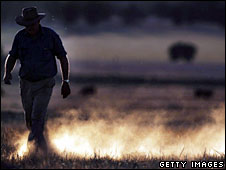A New South Wales farmer walks through a dusty field after its barley crop failed, 26 October, 2006