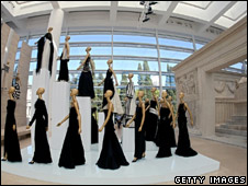 A fashion exhibition inside the Ara Pacis Museum
