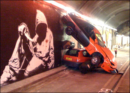 Banksy exhibit in Waterloo tunnel