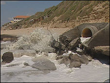 Sewage pours into the sea of Gaza