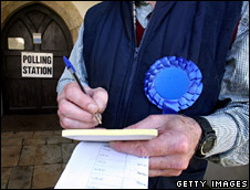 Party teller ticks off a voter's name at a polling station in Gloucestershire