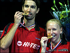 Nathan Robertson celebrates winning the world mixed doubles title with Gail Emms
