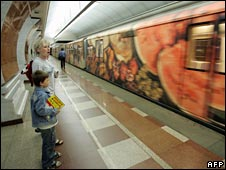 Moscow's subway, complete with marble panels and chandeliers