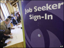 Jobseekers at a jobs fair in California