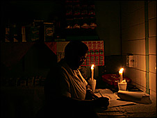 The Star newspaper captures a resident of Johannesburg's city centre during a  blackout