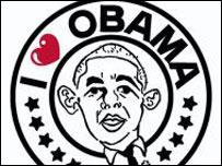 Caricatura con la leyenda Amo a Obama (Foto cortes�a www.diariodelviajero.com)