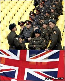 Russian police await England fans in the Luzhniki Stadium