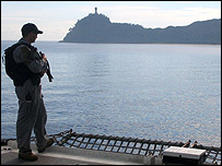 Australian soldier on aircraft carrier off East Timor [Photo: Nick Squires]