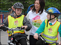 Joanne Preston, with her children doing Bikeability