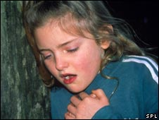 Girl having asthma attack