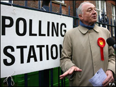 Ken Livingstone on his way to vote near his home in north-west London