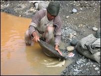 Minero avando oro