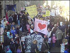 Schools protest in Gwynedd