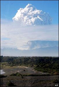 Vista de la erupción del volcán Chaitén